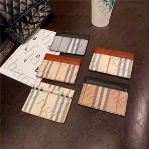 Concepteurs de luxe Hommes de style britannique Femmes Carte de crédit avec titulaire de la marque à carreaux rayé Classic Mini Titulaire de la carte bancaire petit portefeuille mince