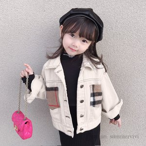 INS kids hole denim jacket boys girls patchwork color plaid pocket casual outwear autumn children long loose cowboy tops mommy and me matching clothing Q2202