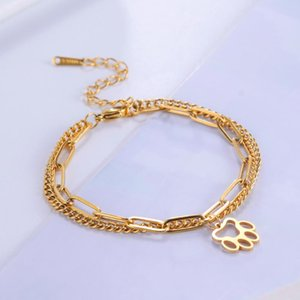 Skyrim Fashion Pet Dof Cat Footprint Double Layers Bracelets Stainless Steel Bangles Jewelry For Women Girls Friends Gifts Charm