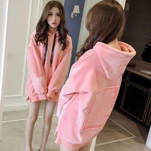 Casual Fleece Sweatshirts Long Sleeve Autumn Winter Female Hoodies Fashion Loose Ladies Pullover Tops Women's &