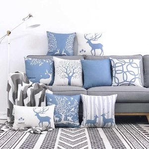 Nordic style elk cotton hemp modern back cushion living room home sofa pillow cover not included