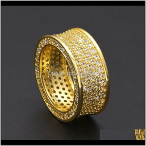 Band Drop Delivery 2021 Mens Hip Hop Gold Jewelry Fashion Gemstone Simulation Diamond Iced Out Rings For Men 1O3Bw