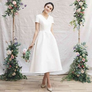 Simple Wedding Dresses Short Sleeve Vestido Novia V Neck Satin Robe De Mariage Tea-length Bridal Gown vestidos cortos