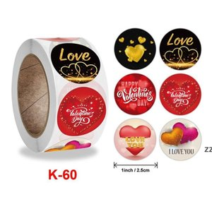 500pcs roll Happy Valentine's Day 1inch Heart Red Stickers Seal Labels Scrapbooking Package Wedding Gift Decorat Stationery Sticker HWE