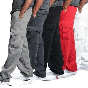 Мужчины дизайнерские свободные пробежки сплошные цветные гусеницы брюки случайные брюки мода спортивные грузовые карманы брюки плюс размер