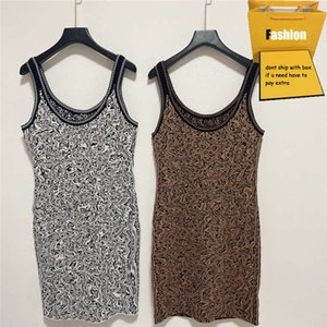 Women Dresses 21ss Summer Stylish Letter Embroidery Sling Knit Dress Casual Sexy Style Bouncy Breathable Fabric Ladies Dress