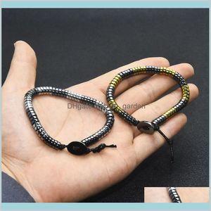 Black Hematite Beads Bracelet Women Men Diy Bracelets Fashion Jewelry Gift Will And Sandy Oerc7 Beaded Strands Sk04R