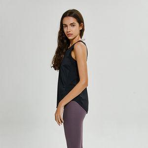 Фитнес одежда оптом йога жилет футболка Lu-59 сплошные цвета женские мода открытый Йога танки спорты бегущий тренажерный зал вершины одежды