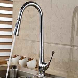 All'ingrosso e al minuto di promozione Pull Out in ottone cromato rubinetto della cucina singola maniglia Hole Vessel Sink Miscelatore caldi e freddi