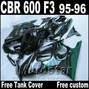 Free Tank motorcycle parts for HONDA fairings CBR600 F3 1995 1996 green flames in black CBR 600 f3 95 96 fairing kit
