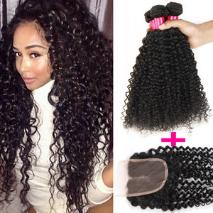 Remy Brazilian hair 3 Bundles With Lace Closure Cheap 8A Peruvian Brazilian Indian Malaysian Hair Extension Virgin Hair Water Wave Hair Weft