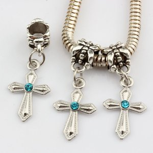Горячее Надувательство ! Синий горный хрусталь меч образный крест очарование мотаться шарик Fit браслет DIY ювелирных изделий 12 мм * 30 мм