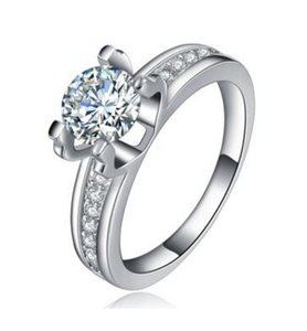 1.19 CT VS1 LAD DIAMOND RING SOLITAIRE + SIDE STONES ROUND CUT 18K WHITE GOLD FILLED WOMEN