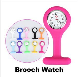 2016 Christmas Gifts Promotion Colorful Nurse Brooch Fob Tunic Pocket Watch Silicone Cover Nurse Watches DHL free shipping