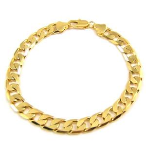 truer 100% 24K Männer gelbes Gold 9inch 23cm 10mm kein Steindiamant-Kettenarmband-Geburtstag Vday Geschenk-freier Verschiffendiamant