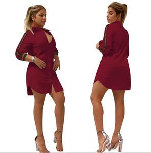 donne Abiti casual Camicette allentate abiti a maniche lunghe T-shirt Moda sexy Camicia vestito Club Cardigan a righe abito top Bianco Blu Rosso