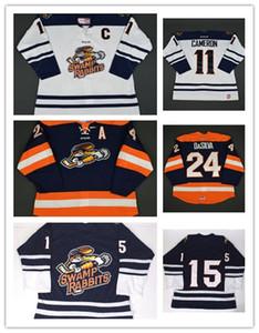 Toptan Özelleştirmek ECHL Greenville Bataklık Tavşanlar Mens Womens Çocuklar 11 Bretton Cameron 24 Justin DaSilva Ucuz Hokey Formalar Kaleci Cut