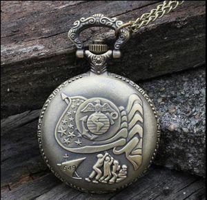 United States Marine Corps antigüedades de bronce reloj de cuarzo de moda hombre y mujer colgante collar reloj de bolsillo