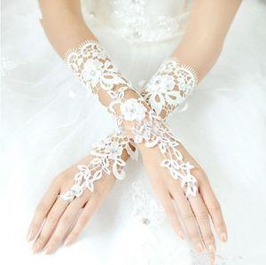 Custom Made Luvas De Noiva Sem Dedos Do Vintage Fabuloso Lace Diamante Flor Luva Oco Vestido De Casamento Acessórios