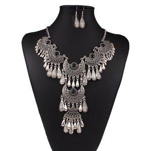 2016 neue Design Halskette Ohrring Set Bohemian Carved Drop Erklärung Halsketten Ohrring Schmuck-Set