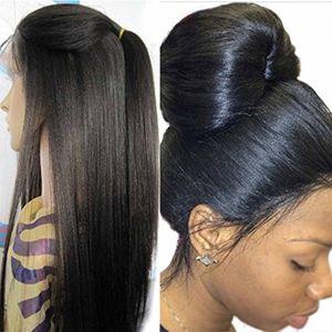 130 Densidad Yaki italiano encaje completo peluca de cabello humano para mujer negra pelo brasileño Glueless Light Yaki encaje recto peluca delantera con pelo