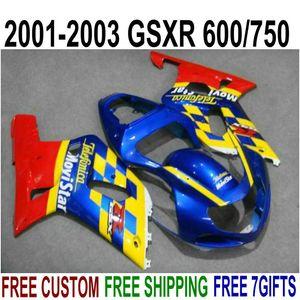 ABS motorcycle fairing kit for SUZUKI GSXR600 GSXR750 2001 2002 2003 K1 yellow blue movistar fairings set GSX-R600 750 01-03 RA42