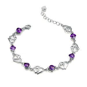 Free Shipping with tracking number Top Sale 925 Silver Bracelet Double Purple crystal Heart Pendant Bracelet Silver Jewelry 10Pcs lot 1505