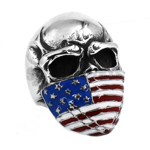 Free shipping! American Flag Infidel Skull Ring Stainless Steel Jewelry Classic Vintage Motor Biker Men Ring Wholesale SWR0368B