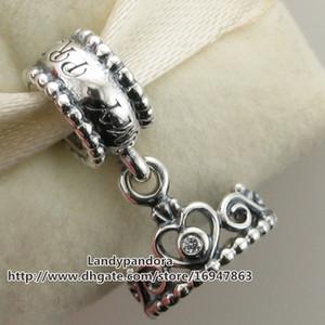 100% S925 Sterling Silver My Princess Tiara Ciondola Charm Bead con Cz Adatto europeo Pandora gioielli stile bracciali collane ciondolo