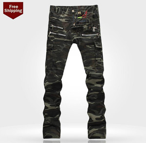 Mens Jeans Distressed Ripped Skinny Slim Fit Designer Long Denim Blue Camouflage Hip Hop Pants Pencil Pants for Male
