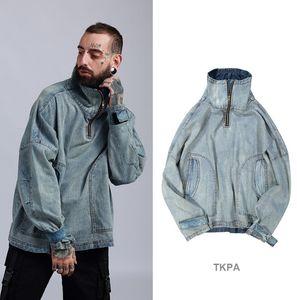 2018 nouveaux hommes mode jean manteaux à col roulé oversize lâche manteau décontracté bleu clair vintage vestes