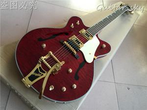 Hochwertige Vicers Neue Ankunft G6122-1962 E-gitarre Atkins Land Gentleman, druck F auf Hohlkörper, rote farbe