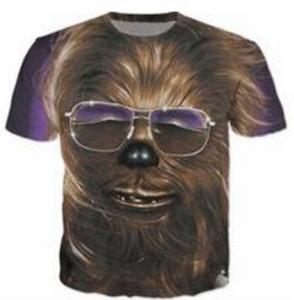 Novas Mulheres Da Moda / dos homens de Impressão 3D Chewbacca Casual Mangas Curtas T-shirt