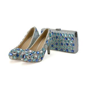 Bleu Cristal De Mariage Partie Talons Hauts Avec Embrayage Chunky Talon Strass Bal Pompes Cendrillon De Bal Chaussures avec Sac Correspondant