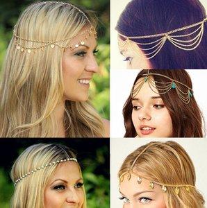 Оптовая продажа-многослойные horquillas bijoux ювелирные изделия золото кисточкой волосы Бинди листья бохо аксессуары для волос горный хрусталь тиара Тиара принцесса короа