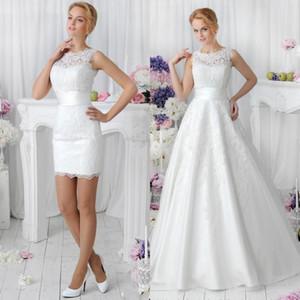 Романтический белый Два кусочка A Line Кружева Свадебные платья 2020 со съемной юбкой Vestidos De Noiva Spring Crew Neck Короткий танец Свадебные платья