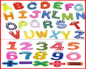 1025 UNIDS Fedex UPS Nuevo 0-9 10 Cartas A-Z 26 Alfabetos Artículos Imanes de Nevera de Madera 26 Cartas Etiqueta de Refrigerador Para Niños Educación DIY Juguete