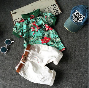 Summer Baby Boys Set Floral White Short Sleeve Cotton Shirt + Shorts Kids 2pcs Set Children Outfits Clothing Set 1255