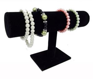 Caliente Recomiende Blanco Pu Negro Velvet Bracelet Bangle Cadena Reloj T-bar Estante Estante de exhibición Soporte de exhibición Caja de Porps Caja de almacenamiento Envío gratis