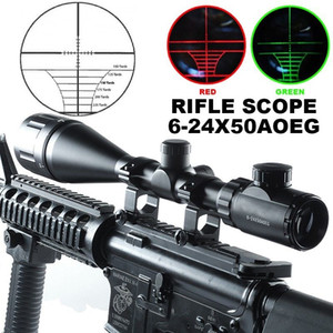 6-24x50AOEG Rot Grün Mil-Punkt Beleuchtet Optik Jagd Zielfernrohr W / Ringe