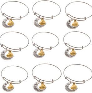 Famille heureuse série je t'aime coeur lune charme Vintage fil d'argent extensible mariage bracelet / bracelets 12pcs pour les femmes bijoux DIY S280