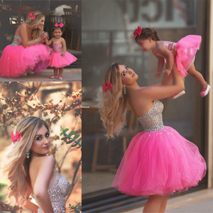 Gorgeous Crystal Beaded Short Prom Dresses Pink Strapless Tulle Homecoming Dresses Sexy Backless Formal Party Dresses Evening Gowns 2016