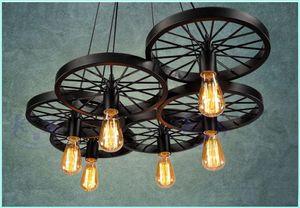 Loft retro Ferro luz Rodas de bicicleta luzes pingente Lâmpada do teto do vintage E27 Lâmpada do vintage ST64 Edison Lâmpada pingente de luz Droplight