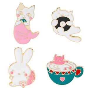 Sevimli Karikatür Kediler Tavşan Yumuşak Emaye Broş Pin Set Giysi Şapka Çanta Eşarp Korsaj Rozeti Yaka Düğme Pin Aksesuarları