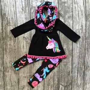 تقع بوتيك ملابس الاطفال طفلة مجموعة ملابس الفتيات شرابة فساتين طويلة الأكمام قمم يونيكورن قوس قزح السراويل طماق 2PCS ملابس الأطفال