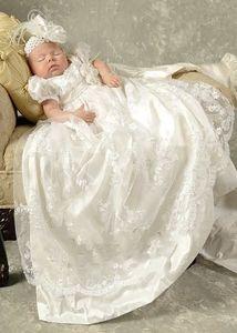 Princesse dentelle blanche bébé Robes de baptême Robes enfants Baptême à manches courtes Vintage filles bébé et garçons Robes de baptême