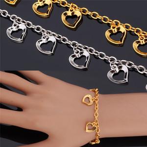 Novembro Novo Item Bonito Encantos Pulseira Bangle 18 K Real Banhado A Ouro Corações Elegantes Encantos Moda Jóias Para As Mulheres YH5153