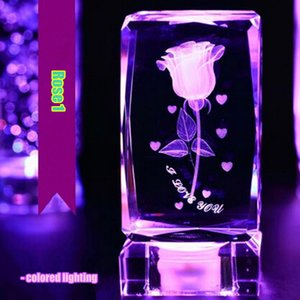 Personalized lover valentine gift crystal rose colored lighting with USB charging