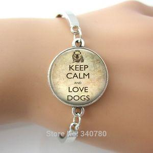 Keep Calm and Love Dogsimagem Bulldog Mantenha Calmo Dog Jóias pulseira com Palavras em Inglês 1 pc por lote frete grátis New hot sale