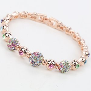 Newest Ball Bracelets Fashion Full Rhinestone Bead bracelets Women Chaim Bracelets Jewelry 18kgp Alloy Jewelry BN-00200
